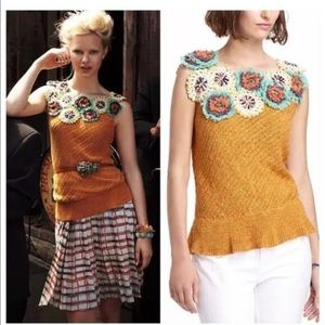 Anthropologie $148 floral crochet sweater knit top